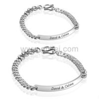 Name Plate Charm Bracelets for Men and Women Sterling Silver Gullei.com