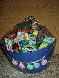 Daddy-to-be hospital basket. A cute idea, although I think instead of giving after a baby shower, I would rather make one and put it in our trunk and then tell Dan about it when we get to the hospital for a surprise treat for him! And of course put things...