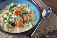 A quick and easy chicken cheese tortellini soup.
