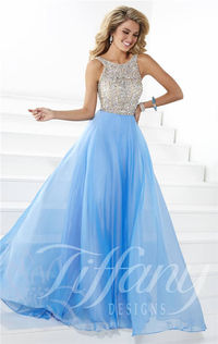 Long Beaded Haltered Neck Prom Gown by Tiffany Designs 16083
