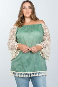 20% discount with BESTDEAL at checkout! Ladies fashion plus size boho off the shoulder tassel top $21.00