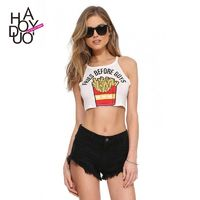 Must-have Vogue Printed Slimming Alphabet Playful Crop Top Sleeveless Top Strappy Top - Bonny YZOZO Boutique Store