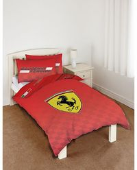 Formula One Racing Ferrari Single Duvet Cover - Scuderia - Reversible Duvet Cover size: 135cm x 200cm. Pillowcase size: 50cm x 75cm. PolyCotton. http://www.comparestoreprices.co.uk/duvet-covers/formula-one-racing-ferrari-single-duvet-cover--scuderia--reve...