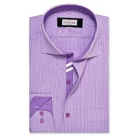 Create a stylish look with this Oxford Men Purple And White Check shirt. Woven in Egyptian cotton & polyster. this check shirt has a fine finish.
