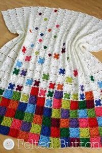 Rainbow Sprinkles Blanket--crochet pattern by Felted Button (Susan Carlson). The pattern calls for portions of 10 different colors of worsted weight yarn in addition to the main color. If you want to use a lighter weight yarn you will get a bit sm...