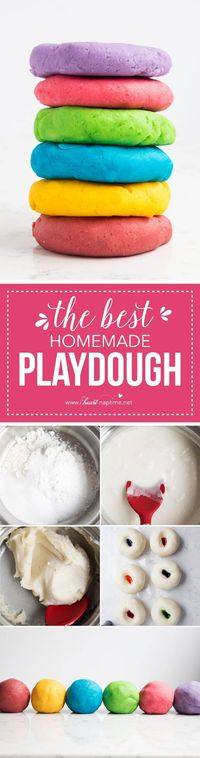 The BEST play dough recipe - make in less than 5 minutes for under a $1 and have it last for months! It is so soft and squishy and cuts perfectly with cookie cutters.