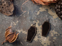 Black Coffin Earrings with hypoallergenic Hooks, Dark Stained glass, Witchy Earring, Spooky Goth, Deathrock, Gothick style $20.00