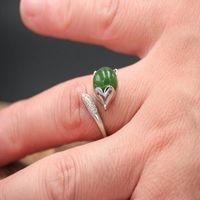Fox Ring / Green Chalcedony Ring / 925 Silver Fox Ring / adjustable ring / Adjustable Size Ring / Engagement Ring / Presentation Ring Ask a question