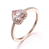 6MM HEART SHAPED MORGANITE AND DIAMOND ENGAGEMENT RING 14K ROSE GOLD PETITE GIFT FOR HER