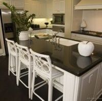 Kitchen-white cabinets and white subway tile, black counter