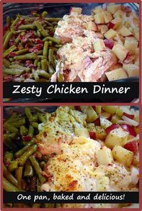 Delicious one-pan zesty chicken dinner. EASY and every kid had seconds! Pan was scraped clean. BalancingMama.com