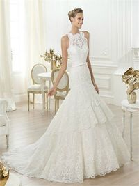 Gorgeous a-line strapless high neck lace wedding dress