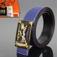 Hermes Constance Wild Horse Belt Leather Gold Hardware In Blue