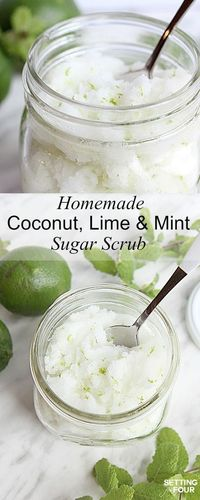 Great gift idea! This DIY Lime Mint Sugar Scrub is a rich skin moisturizer and smells like a tropical vacation with the scents of coconut, mint and lime!
