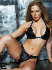17843 Leather 2 Piece Set with Buckles Supple leather and naughty grommeted straps are combined for an erotic adventure. The bra has an adjustable buckle-neck closure and elastic back. The thong has a Lycra back. http://www.comparestoreprices.co.uk/linger...