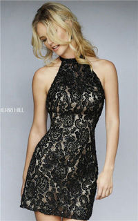 2015 Beaded Slim Black Open Back Lace Short Party Dress By Sherri Hill 1968