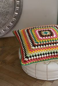 Crochet, granny square pillow