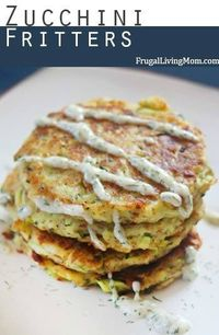 These are awesome. And a great way to use up any zucchini overload from the garden. As I fried these the girls got more and more excited, hovering over the pan... #zucchini #glutenfree option #fritters