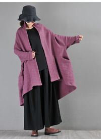 Purple linen cardigan, Women cardigan, Long cardigan, Plus size clothing, Minimalist cardigan, Cardigan oversized, Bat sleeve cardigan