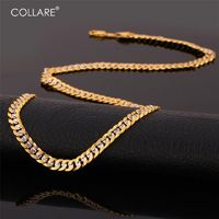 Collare Two Tone Jewelry Sets For Men Gold/Silver Color Curb Link Chain Bracelet Necklace Sets R203.80