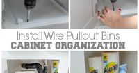 How to install closetmaid wire pullout bins in a bath cabinet organizational project. Before and After storage cabinet.