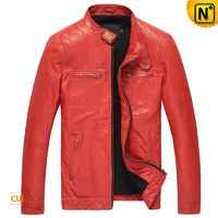 Fitted Lambskin Leather Motorcycle Jacket for Men CW850126
