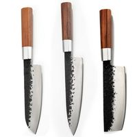 Chef Knife Santoku Nakiri Professional Kitchen Knives Carbon Steel Cooking Slicing Vegetables Tools Wood Handle $38.50