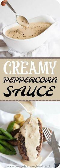Creamy Peppercorn Sauce couldn't be more simple and delicious to make! This Peppercorn Sauce without brandy is about to be your go-to sauce for steak, chicken,