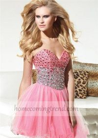 Coral Strapless Beaded Homecoming Dress 2014