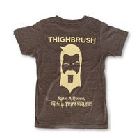 """THIGHBRUSH® - """"Save a Horse, Ride a THIGHBRUSH!"""" - Men's T-Shirt - Heather Brown and Sand"""