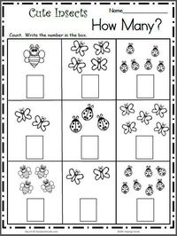 "Count the Cute Insects �€"" Free Math Worksheet for kindergarten and preschool. Get ready for kindergarten by practicing counting and writing numbers up to 7 with"