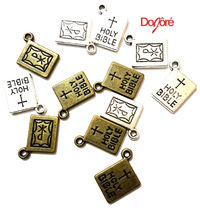 Pack of 10 Holy Bible & Cross Charms. 10mm x 14mm. Bronze or Silver Easter Pendants. £2.99