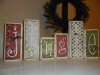 Wood blocks with scrapbook paper -