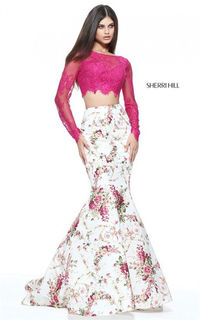 2 PC Lace Long Sleeved Floral Print Mermaid Gown From Sherri Hill 51064