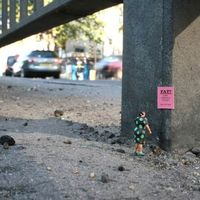 An exhibition of work by Slinkachu, an artist who installs tiny figurines around the city.
