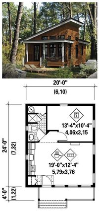 I want to put this in my backyard and fill it with yarn! #Tiny #HousePlan 52781   To enjoy the pleasures of nature, there's nothing like this charming cottage with sloping ceiling in the front. It measures 20 feet wide by 24 feet deep and has a surfac...