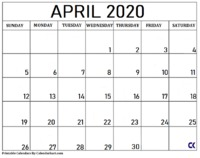 Blank April 2020 Calendar with large spacious boxes for making notes.