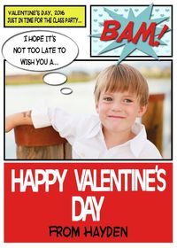 """Comic Book Photo Valentines Day Card .jpg file -- sheet of 8 2.5x3.5"""" wallet sized cards $5.36"""
