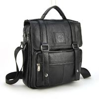 Men Genuine Real Cow Leather Handbag Multi Compartment Top Handle Shoulder Cross Body Bag Messenger Satchel Casual Daily Flap