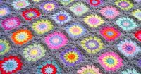 colourful and grey granny square blanket