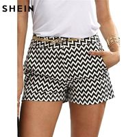 SHEIN Woman Shorts Summer New Arrival Black and White Mid Waist Button Fly Casual Pocket Cotton Straight Shorts $44.73