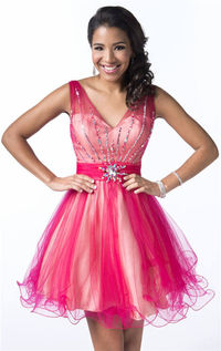 Beaded V Neck Cheap Short Homecoming Dresses 2014