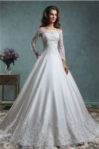 Ball Gown Satin Lace Applique Wedding Dress Off The Shoulder Long Sleeve Jacket