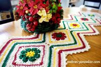 12 weeks of christmas blog hop CAL Free Crochet Patter Joyful Flowers Runner by Pattern-Paradise.com #12WeekChristmasCAL