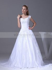 V NECK A LINE TULLE OVER SATIN WEDDING GOWN WITH BEADED APPLIQUES