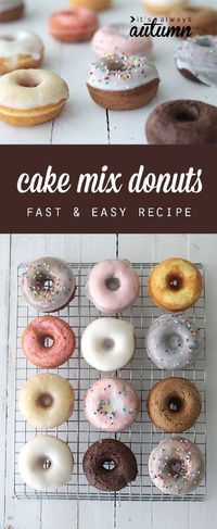 great idea! you can use a cake mix to make quick & easy donuts in any flavor with this simple recipe. baked not fried!