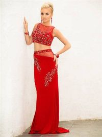 Beaded Panoply 41302 Long Red Two Piece Evening Gowns Sale