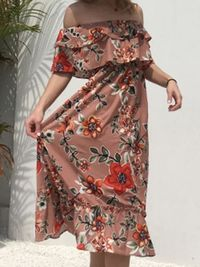 Floral Bohemia Off Shoulder Maxi Dress $36.99