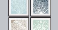 Underwater Sea Coral Collection (Series C) -Set of 4 - 11x14 - Featured in Glacier Blue, Navy, Truffle Brown and Silver Sage. $47.85, via Etsy.