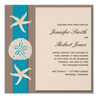 Brown and Turquoise Band Starfish Wedding Personalized Invitation